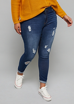 Plus Dark Wash Distressed Rolled Hem Skinny Jeans