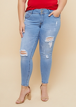 Plus Light Wash Distressed Cuffed Cropped Booty Jeans