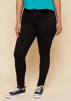 Plus Black Low Rise Double Button Booty Jeans