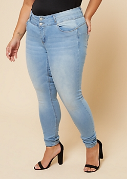 Plus Light Wash Low Rise Double Button Booty Jeans