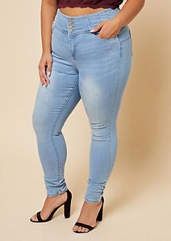Plus Medium Wash 4-Button Shaping Waist Skinny Jeans