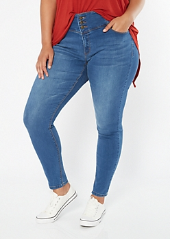 Plus Medium Wash Triple Button Booty Jeggings