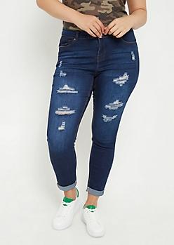 Plus Dark Wash Cuffed Skinny Ankle Jeans