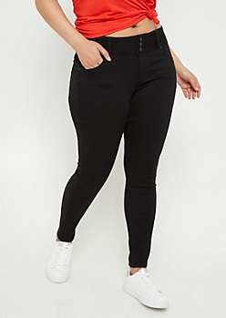 Plus Black Button Front Skinny Jeggings