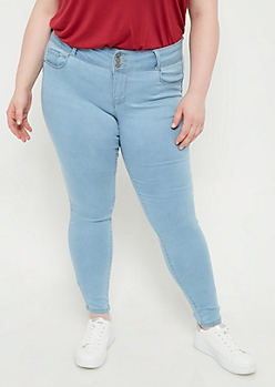 Plus Light Wash Button Front Skinny Booty Jeans