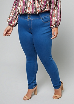 Plus Medium Wash Button Front Skinny Booty Jeans