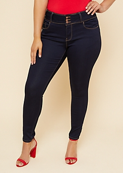 Plus Dark Wash Triple Button Skinny Booty Jeans