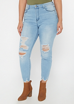 Plus Light Wash Frayed Hem Skinny Jeans