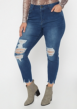 Plus Dark Wash Frayed Hem Skinny Jeans
