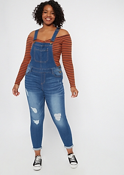 Plus Medium Wash Ripped Jean Overalls