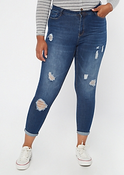 Plus Dark Wash Ripped Roll Cuff Jeggings