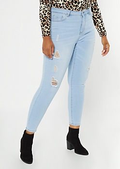 Plus Light Wash High Waisted Ripped Jeggings