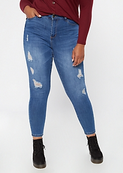 Plus Medium Wash High Waisted Ripped Jeggings