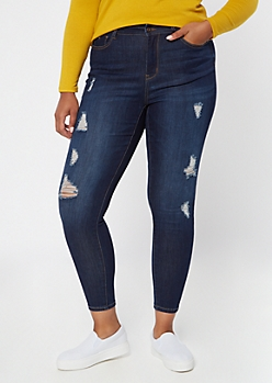 Plus Dark Wash High Waisted Ripped Jeggings