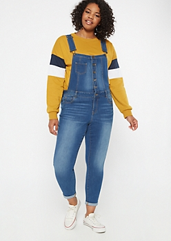 Plus Medium Wash Button Down Rolled Jean Overalls
