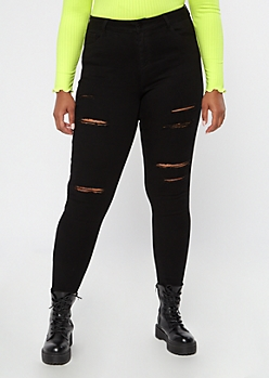 Plus Black Distressed High Waisted Skinny Jeans