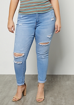 Plus Light Wash Destroyed Mid Rise Cropped Skinny Jeans