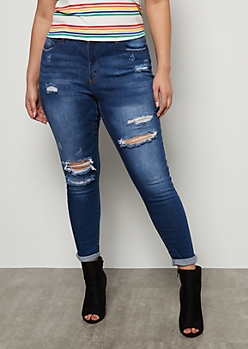 Plus Dark Wash Destroyed Mid Rise Cropped Skinny Jeans
