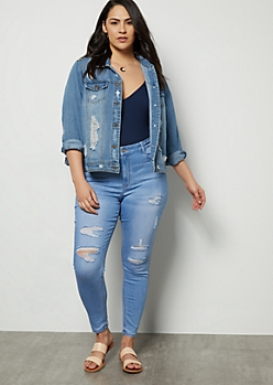Plus Light Wash Distressed Skinny Booty Jeans