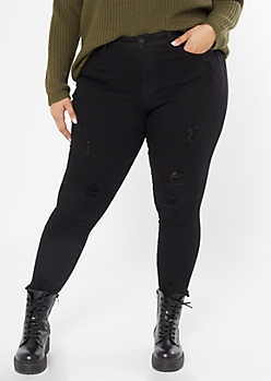 Plus Black High Waisted Ripped Booty Jeans