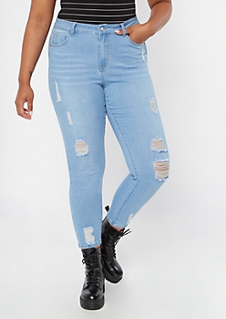 Plus Light Wash High Waisted Ripped Booty Jeans