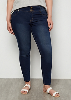Plus Dark Wash Mid Rise Topstitched Booty Jeggings