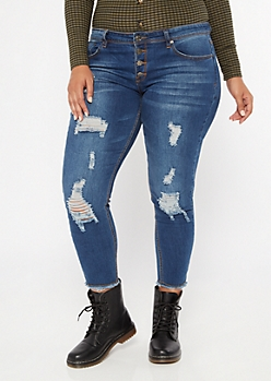 Plus Dark Wash Distressed Frayed Ankle Jeggings