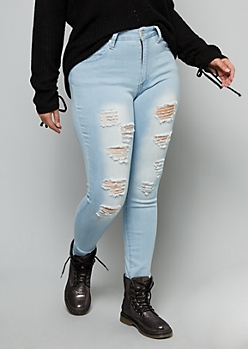 Plus Redfox Light Wash Mid Rise Distressed Jeggings