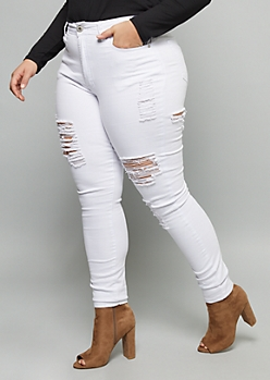 Plus Red Fox White Distressed High Waisted Jeggings