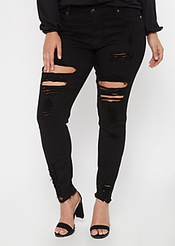 Plus Redfox Black Frayed Shaping Jeggings