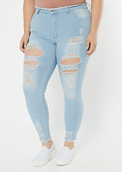 Plus Redfox Light Wash Frayed Shaping Jeggings