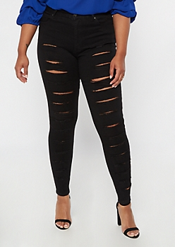 Plus Redfox Black Shredded Jeggings