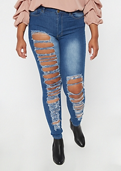 Plus Redfox Medium Wash Shredded Jeggings