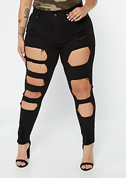 Plus Redfox Black Frayed Cutout Jeggings