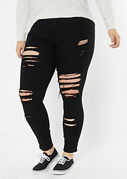 Plus Redfox Black Destructed High Waisted Jeggings