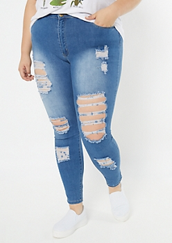Plus Redfox Medium Wash Destructed High Waisted Jeggings