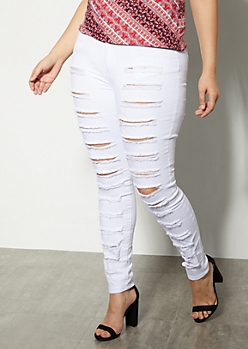 Plus Redfox White High Waisted Destroyed Front Jeggings