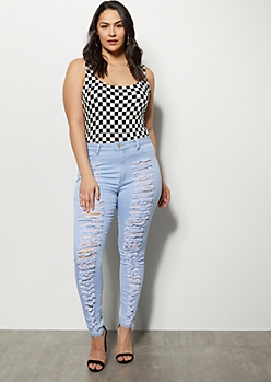 Plus Redfox Light Wash High Waisted Destroyed Jeggings