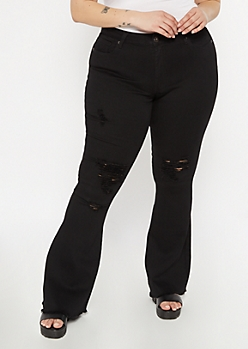 Plus Redfox Black Blown Knee Flare Jeans