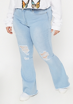 Plus Redfox Light Wash Blown Knee Flare Jeans