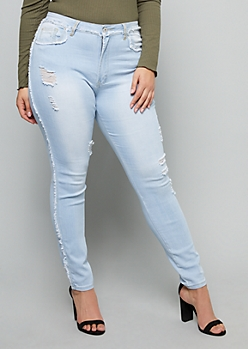 Plus Red Fox Light Wash High Waisted Frayed Skinny Jeggings