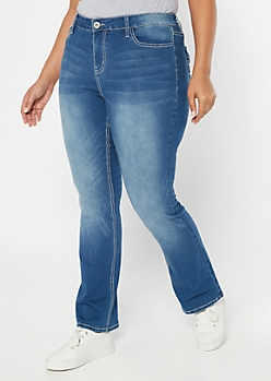 Plus Medium Wash Whipstitch Pocket Bootcut Jeans