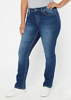 Dark Wash Embroidered Pocket Bootcut Jeans