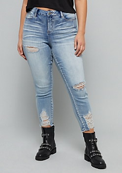 Plus Light Wash Ripped Hem Skinny Ankle Jeans