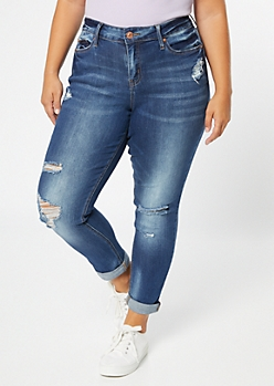 Plus Medium Wash Mid Rise Distressed Roll Cuff Jeggings