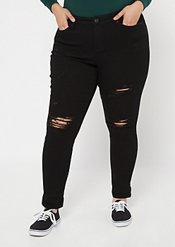 Plus Black Distressed High Waisted Jeggings