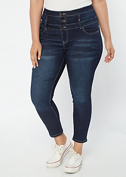 Plus High Waisted Dark Wash Triple Button Jeggings