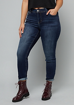 Plus YMI Secrets Dark Wash Mid Rise Jeggings