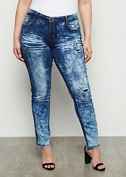 Plus Dark Acid Wash Ripped Repaired Booty Jeans