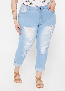 Plus Light Wash Ripped Rolled Skinny Jeans